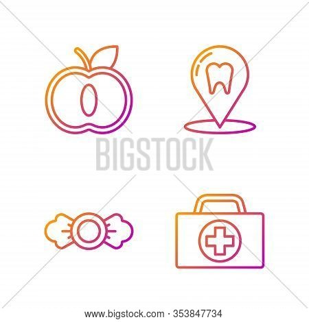 Set Line First Aid Kit, Candy, Apple And Dental Clinic Location. Gradient Color Icons. Vector