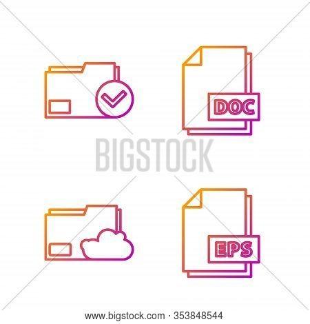 Set Line Eps File Document, Cloud Storage Text Document Folder, Document Folder And Check Mark And D