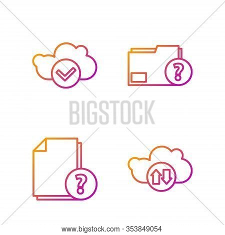 Set Line Cloud Download And Upload, Unknown Document, Cloud With Check Mark And Unknown Document Fol