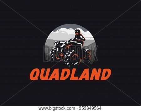 Atv Vehicle Logo On Dark Background. All-terrain Off-road 4x4 Quad Illustration