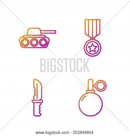 Set Line Hand Grenade, Military Knife, Military Tank And Military Reward Medal. Gradient Color Icons