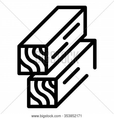 Construction Wood Icon. Outline Construction Wood Vector Icon For Web Design Isolated On White Backg