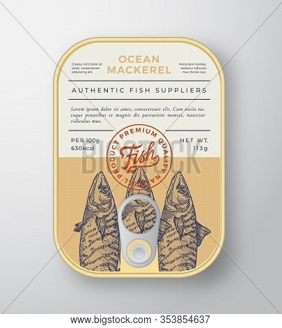 Canned Ocean Fish Abstract Vector Aluminium Container Packaging Design Or Label. Modern Typography B