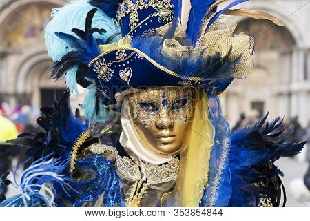 Carnival Of Venice, Woman With Beautiful Mask, Italy