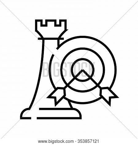 Strategic Goal Line Icon, Concept Sign, Outline Vector Illustration, Linear Symbol.