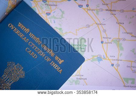 View Of Overseas Citizen Of India Card Issued To Non Resident Indians. Travel Document,