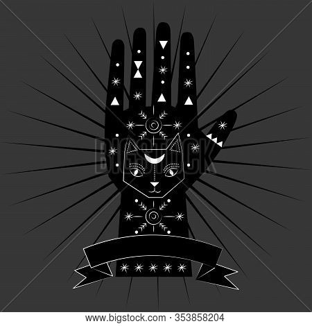 Chiromancy And Good Luck Charms. Palmistry Graphic Design, Cat, Feline Animal Spirit, Familiar Good