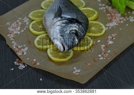 Raw Fish Dorada.raw Fish Fillet On Lemon Slices On Dark Background Ready For Cooking, Food Backgroun