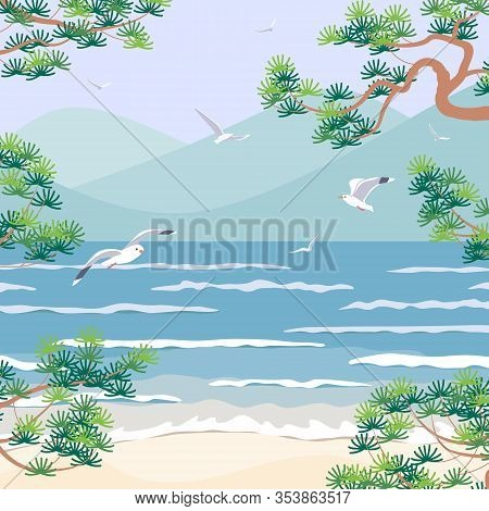 Simple Natural Square Background With Sea Coast Scenery. Serenity Landscape With Blue Water, Small W