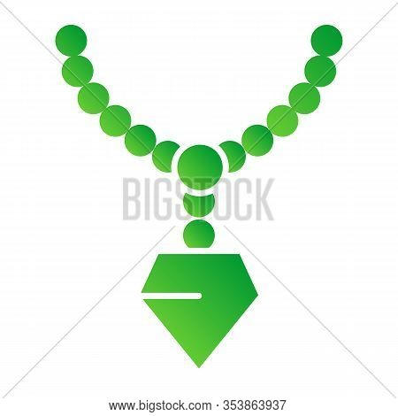 Pendant With Gemstone Flat Icon. Chain With Pendant Vector Illustration Isolated On White. Jewellery