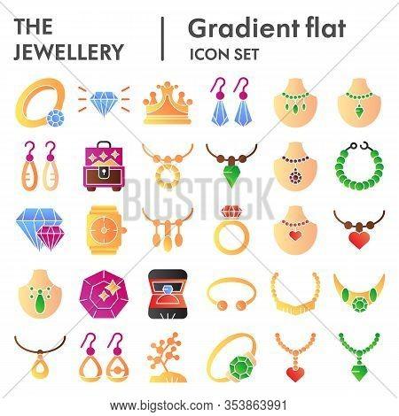 Jewellery Flat Icon Set. Bijouterie Accessories Symbols Collection, Vector Sketches, Logo Illustrati