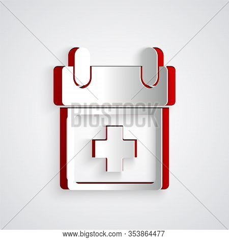 Paper Cut Doctor Appointment Icon Isolated On Grey Background. Calendar, Planning Board, Agenda, Con