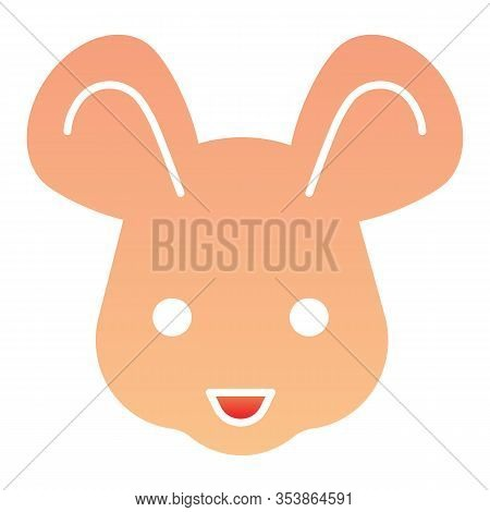 Mouse Head Flat Icon. Cute Rodent Rat Face, Simple Silhouette. Animals Vector Design Concept, Gradie