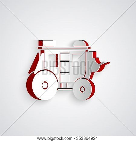 Paper Cut Western Stagecoach Icon Isolated On Grey Background. Paper Art Style. Vector Illustration