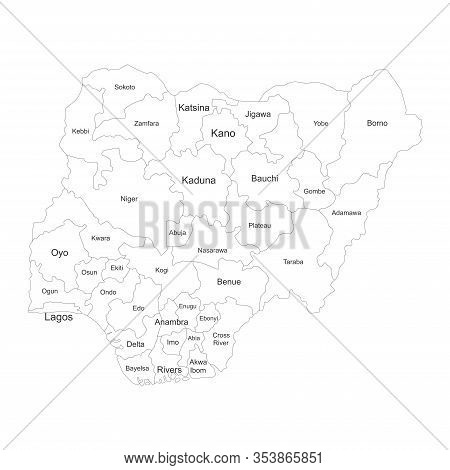 Nigeria Region Map With Name Labels. Political Map. Perfect For Business Concepts, Backgrounds, Back