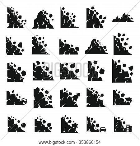 Landslide Icons Set. Simple Set Of Landslide Vector Icons For Web Design On White Background