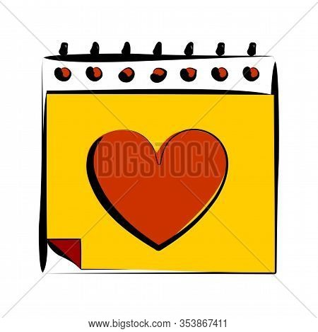 Love Icon Valentine Callendar Love, Upcoming Event Icon, Flat Sign. Black Simple Upcoming Event Icon