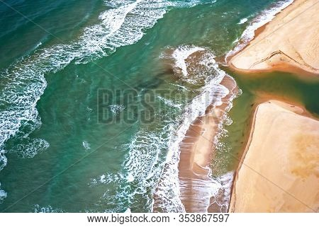 Aerial Sand Beach And Waves View. Golden Sands!
