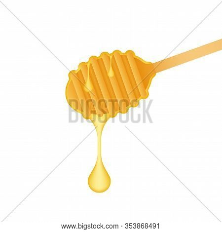 Wooden Spoon For Liquid Sweetness. Honey Dipper. Vector Stock Illustration.