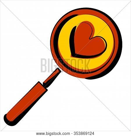 Search Heart And Love Icon Isolated On Purple Background. Magnifying Glass With Heart Inside. Minima