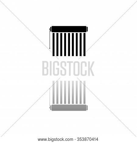 Jalousie. Black Symbol On White Background. Simple Illustration. Flat Vector Icon. Mirror Reflection