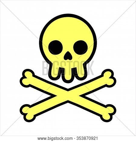 Imple Flat Style Design Skull With Crossed Bones Icon Sign Vector Illustration Isolated On White Bac