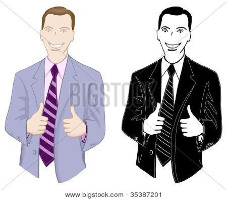 Businessman, smiling, showing thumbs up
