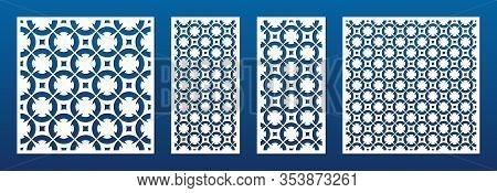 Laser Cut Panels Set. Vector Template With Abstract Ornamental Geometric Pattern In Oriental Style,