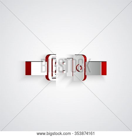 Paper Cut Safety Belt Icon Isolated On Grey Background. Seat Belt. Paper Art Style. Vector Illustrat