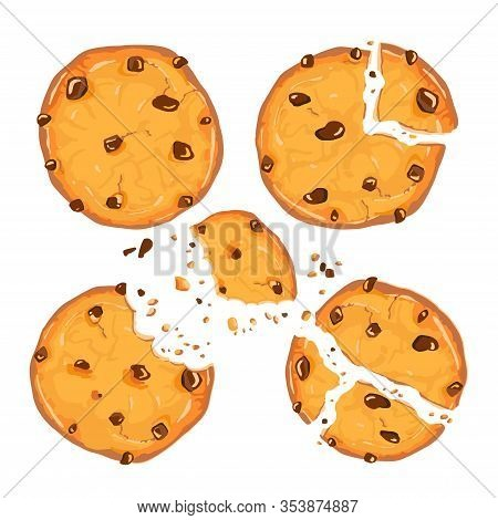 Homemade Choco Chip Cookies With Chocolate Crisps Isolated On White Background. Bitten, Broken, Cook