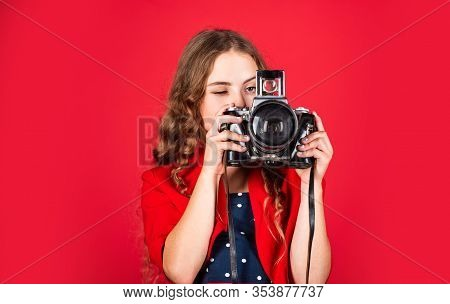 Girl With Retro Camera. Capture Moments. Slr Camera. Courses For Photographers. Education For Report