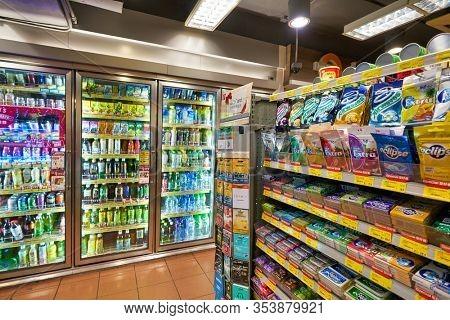 HONG KONG, CHINA - CIRCA JANUARY, 2019: interior shot of Circle K store in Hong Kong. Circle K Stores Inc. is an international chain of convenience stores.