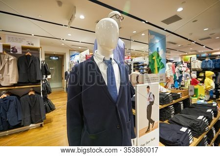 SINGAPORE - CIRCA JANUARY, 2020: close up shot of a mannequin at UNIQLO Orchard Central, Global Flagship Store. The store spans three floors and is located in Orchard Road shopping belt.