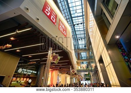 SINGAPORE - CIRCA JANUARY, 2020: interior shot of Orchard Central, a shopping mall in Singapore located along the main shopping belt at Orchard Road.