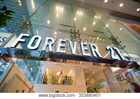 SINGAPORE - CIRCA JANUARY, 2020: Forever 21 brand name over store entrance. Forever 21 is represented in Singapore with one store, located within 313 Somerset shopping mall.