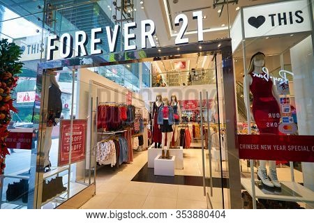 SINGAPORE - CIRCA JANUARY, 2020: entrance to Forever 21 store. Forever 21 is represented in Singapore with one store, located within 313 Somerset shopping mall.