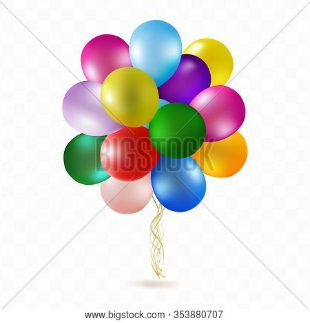 Balloon Helium Bunch Isolated On Transparent Background. Realistic Coloured Ballon Group With Transp