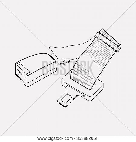 Seat Belt Icon Line Element. Vector Illustration Of Seat Belt Icon Line Isolated On Clean Background