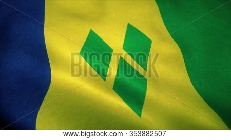 Saint Vincent And The Grenadines Flag Waving In The Wind. National Flag Of Saint Vincent And The Gre