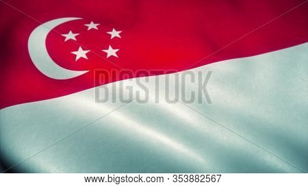Singapore Flag Waving In The Wind. National Flag Of Singapore. Sign Of Singapore. 3d Rendering.