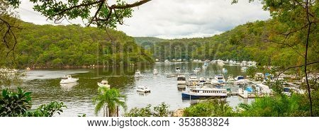 Scenic Landscape View Of Berawa Creek In Sydney's Northern Suburbs With Boats Ferries On The River.