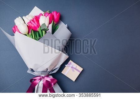Womens Day Background. Bouquet Of White And Pink Tulips With Gift Box. Spring Flowers. Present Gift
