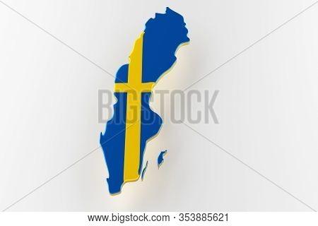 3d Map Of Sweden. Map Of Sweden Land Border With Flag. Sweden Map On White Background. 3d Rendering