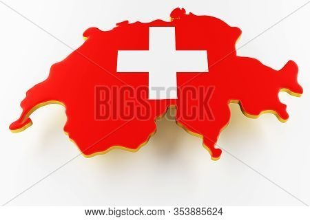 3d Map Of Switzerland. Map Of Switzerland Land Border With Flag. Switzerland Map On White Background