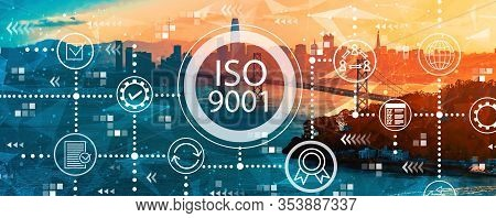 Iso 9001 Concept With Aerial View Of The Bay Bridge In San Francisco