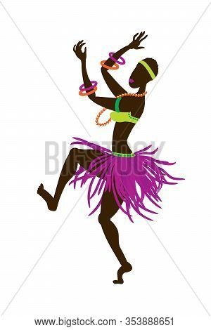 African Girl In A Bright National Ethnic Costume In An Eccentric Dance. Vector Illustration In Flat