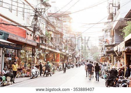 Hanoi, Vietnam, December 30, 2019, Street of the old quarter against day light