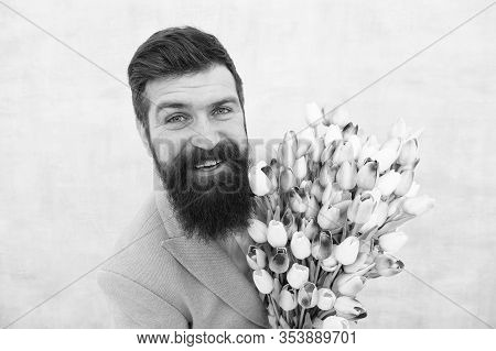 Spring Holiday. Man Bearded Suit Bow Tie Hold Tulip Flowers Bouquet. Gentleman Romantic Surprise For