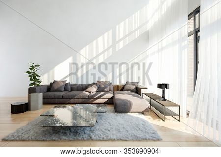 Spacious living room with white walls, bright big window wide corner couch, modern coffee table on a furry carpet. Interior design concept with copy space. 3d Rendering