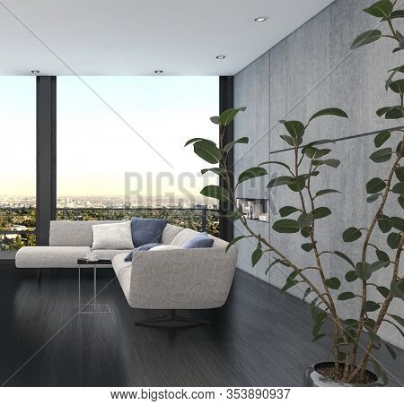 Minimalist interior design of a living room with corner couch of grey color against wide panoramic window and the indoor plant with green leaves in foreground. 3d Rendering